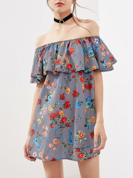 Off Shoulder Ruffle Printed Dress