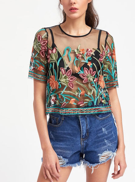 Floral Embroidery Mesh Crop Top
