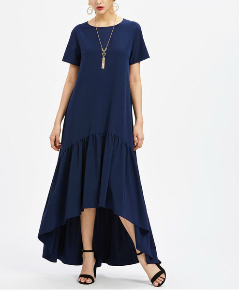 Asymmetrical Pleated Hem T-Shirt Dress