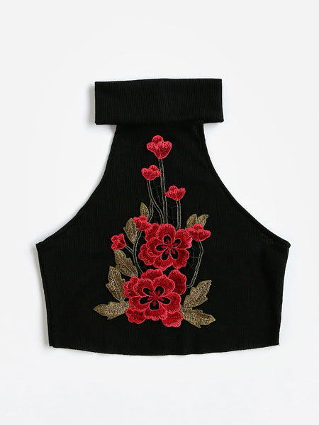 Applique Embroidery Ribbed Crop Top
