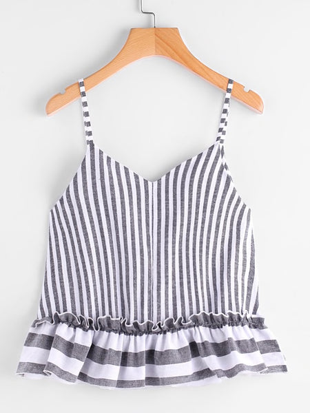 Striped Frill Hem Cami Top