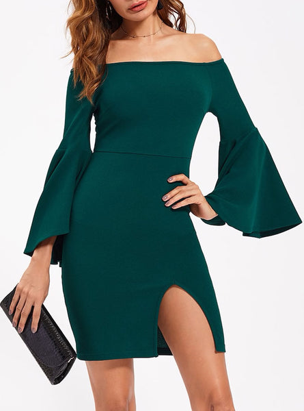 Bell Sleeve Off Shoulder Fitted Dress