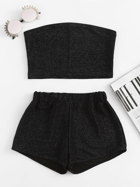 Sparkly Bandeau Top And Shorts Set