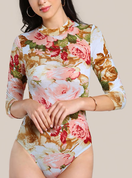 Mock Neck Floral Long Sleeve Bodysuit