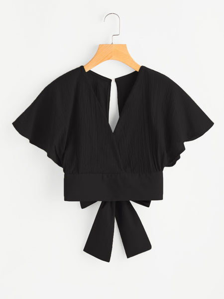 Batwing Deep V Crop Top With Waist Tie