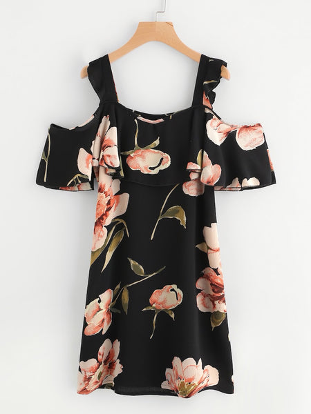 Cold Shoulder Floral Chiffon Dress