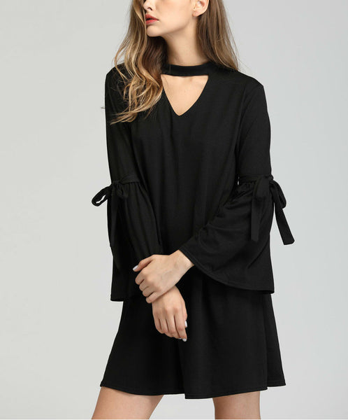 Cut Out Front Bell Sleeve Dress