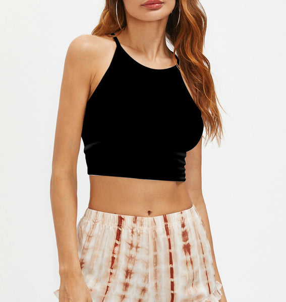 Cutout Strappy Back Crop Top
