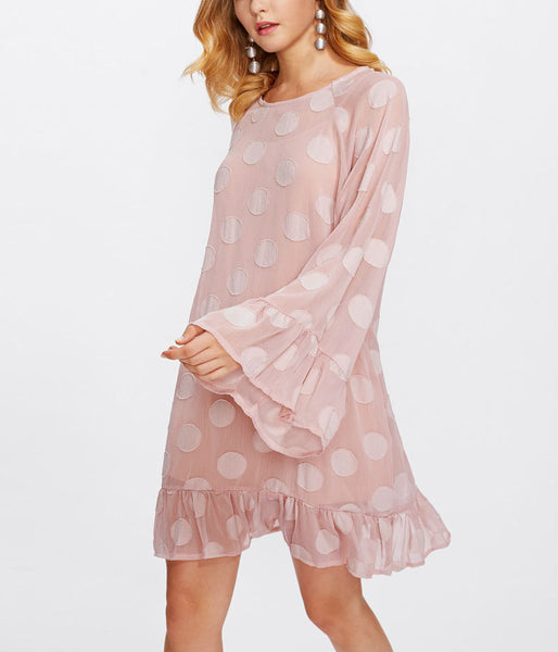 Polka Dot Flare Dress With Pleated Hem
