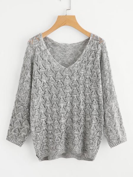 V-neck Open Knit Sweater