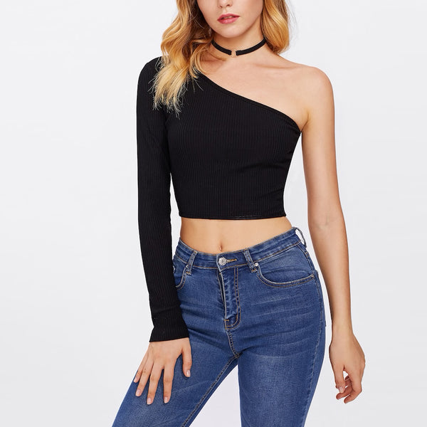 One Shoulder Ribbed Crop Top