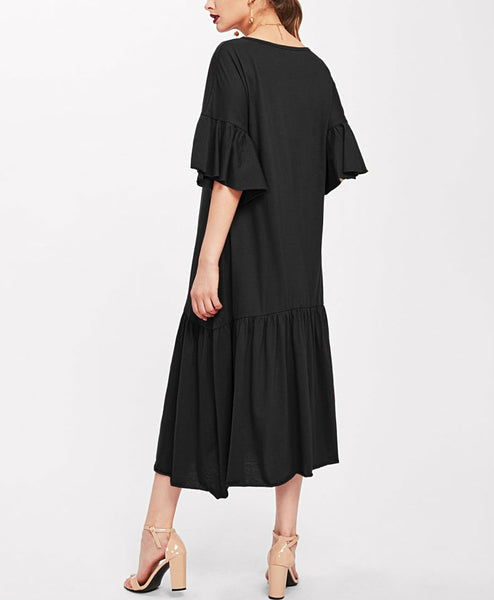 Flare Sleeve Pleated Hem Dress