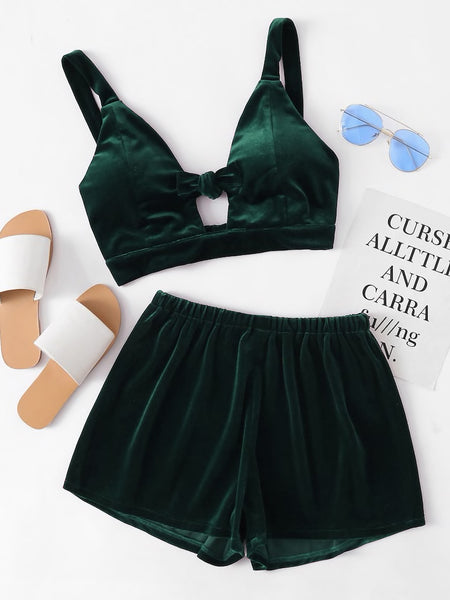 Velvet Knot Front Crop Top And Shorts Set