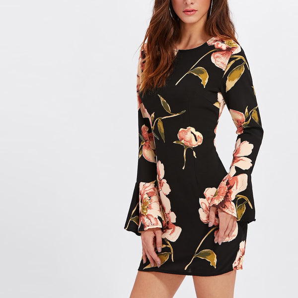 Bell Sleeve Floral Print Mini Dress