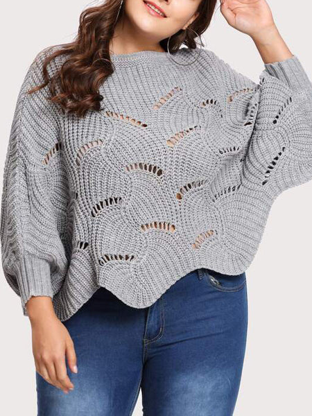 Scalloped Hem Losse Fit Jumper