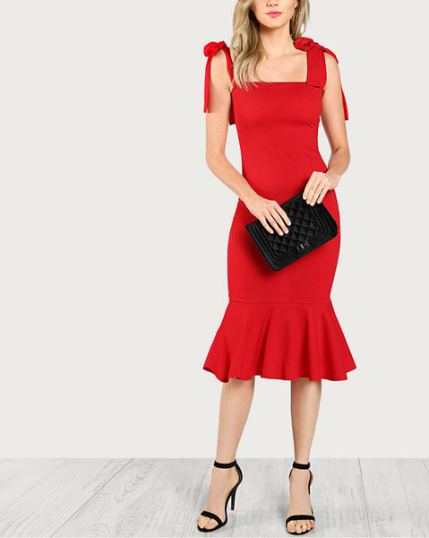 Fishtail Dress With Self Tie Shoulder Straps