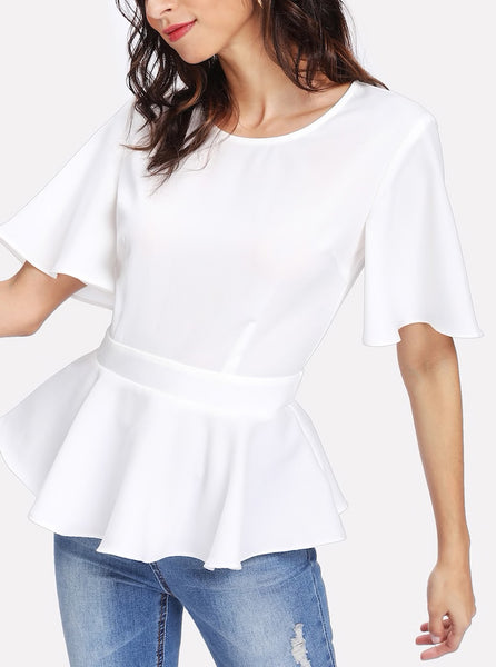 Back Tie Cutout Back Peplum Top