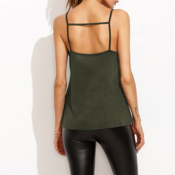 Deep V Lace Front Strap Back Top