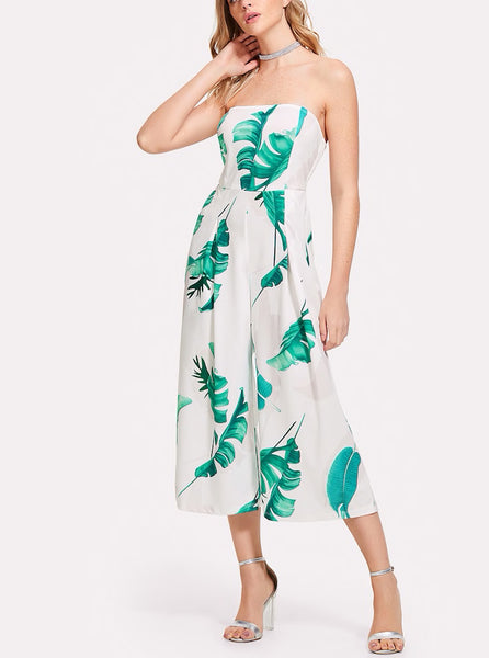 Leaf Print Tube Jumpsuit