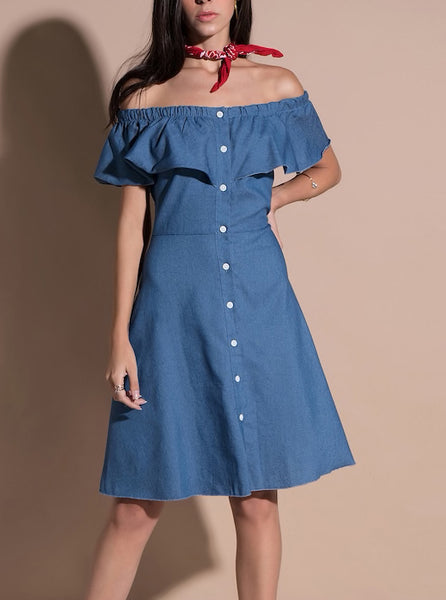Off Shoulder Ruffle Midi Denim Dress With Buttons
