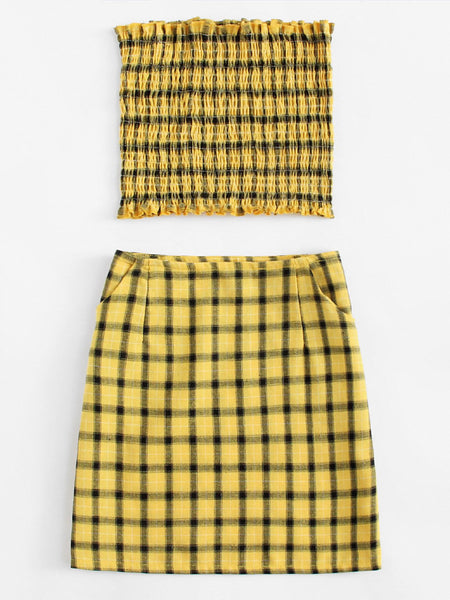 Plaid Bandeau Top And Matching Skirt