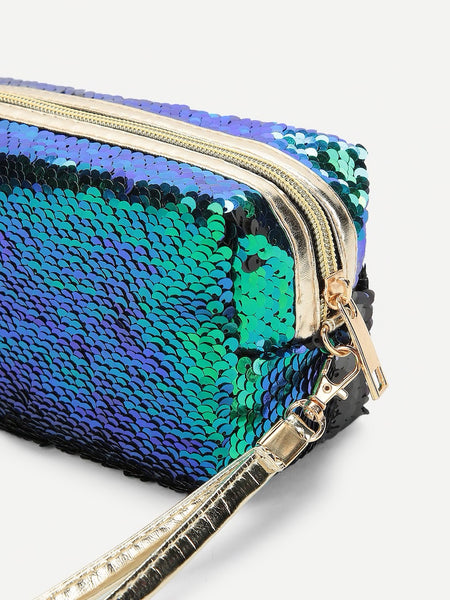 Sequin Make Up Bag With Wristlet