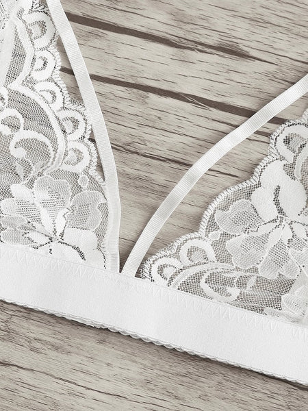 Harness Detail Lace Bra