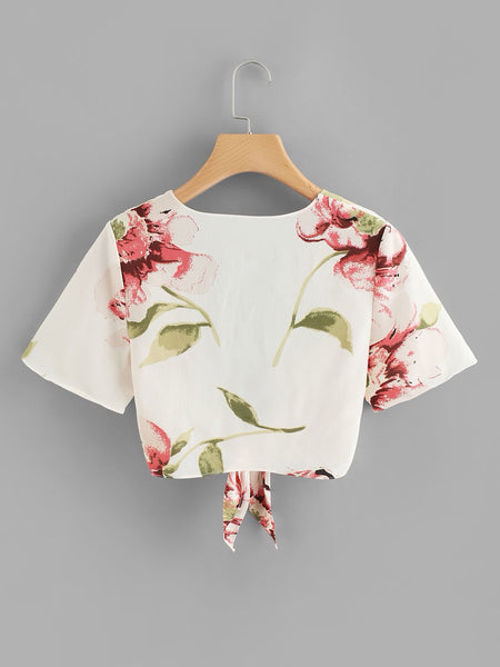 Floral Print Knot Front Top