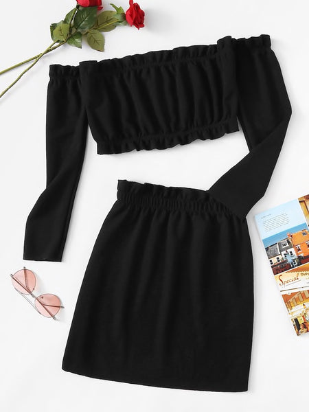Frill Trim Knit Crop Top And Skirt Set