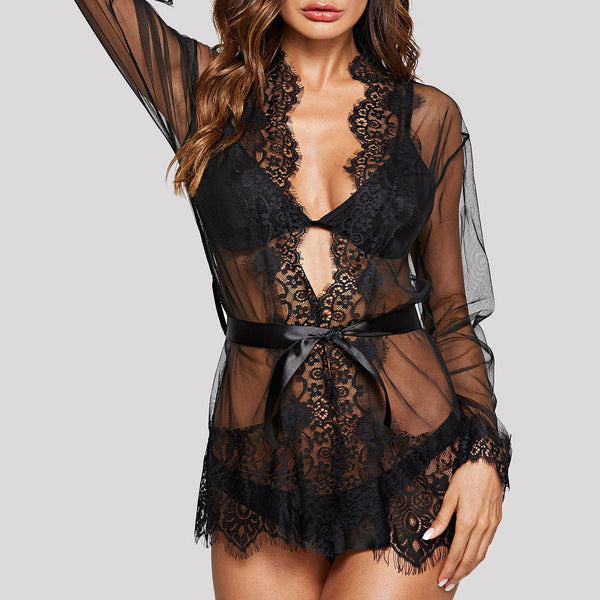 Eyelash Lace Robe And Thing Set