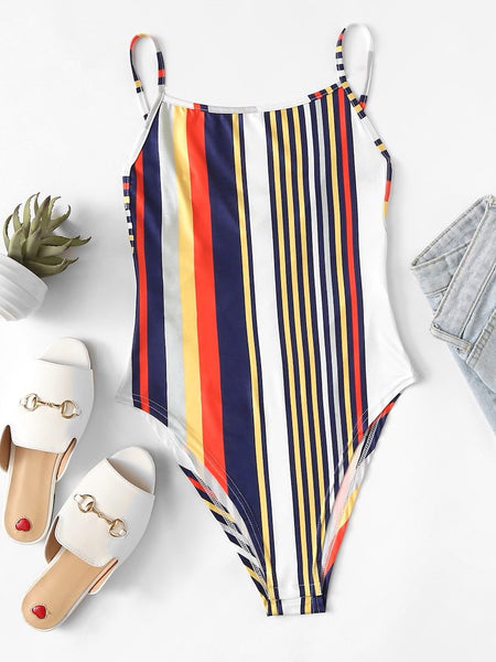 Knot Back Striped Bodysuit