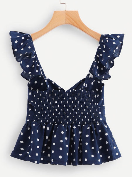 Twist Front Frill Trim Polka Dot Top