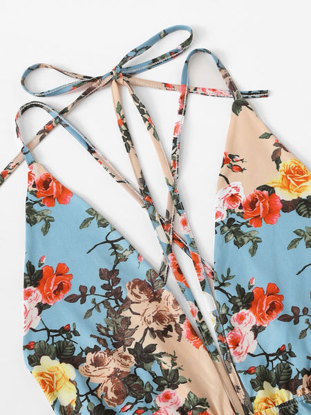 Strappy Floral Backless Bodysuit