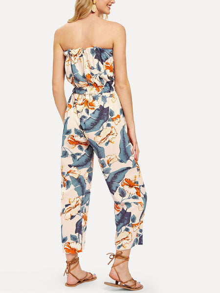 Floral Tube Jumpsuit With Buttons