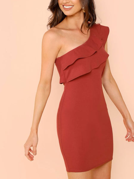 One Shoulder Tiered Ruffle Fitted Dress