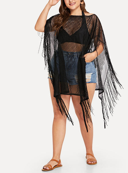 Sheer Blouse With Fringe