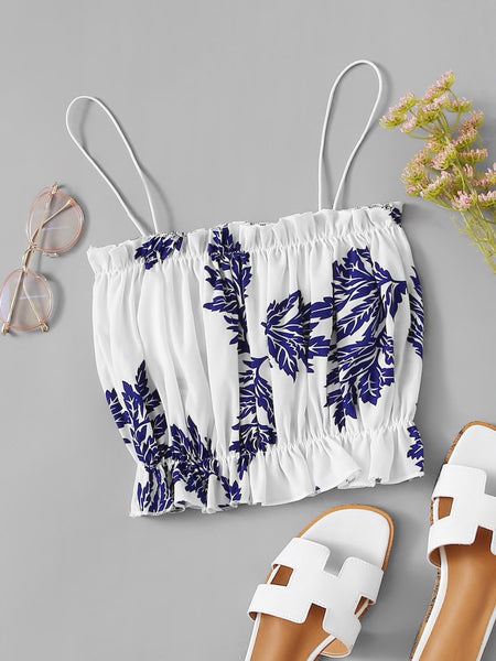 Leaf Print Frill Hem Tube Top