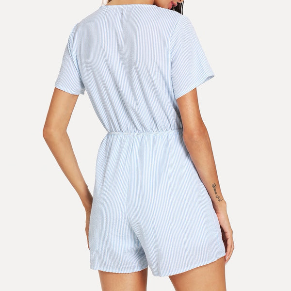 Tie Front Striped Short Sleeve Romper