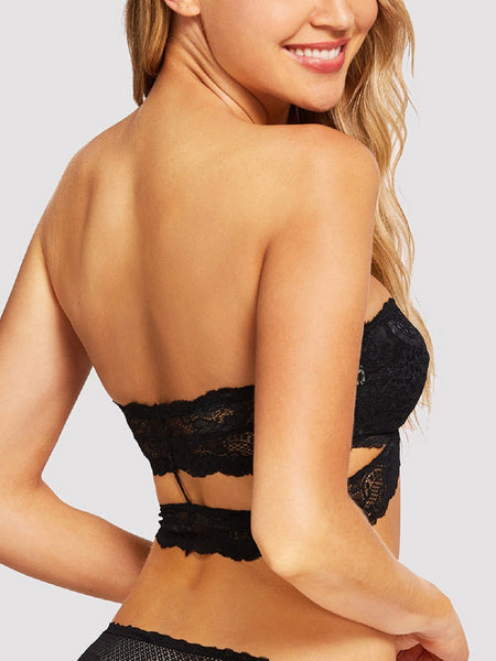 Lacey Bandeau Bralette With Back Slit