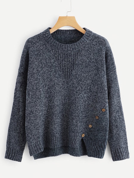 Button Front Asymmetrical Sweater