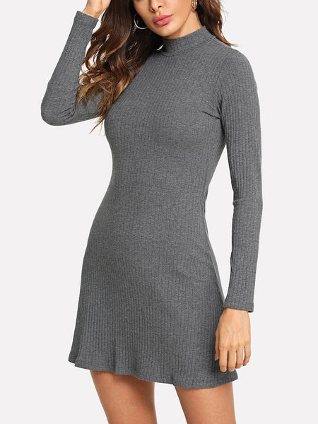 High Neck Long Sleeve Flutter Dress