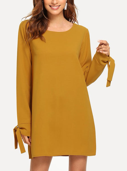 Knot Cuff Shift Dress
