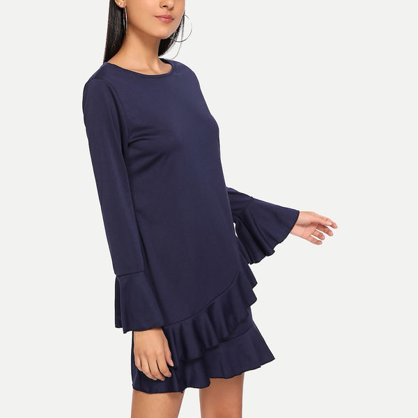 Ruffle Tier Fluted Sleeve Shift Dress