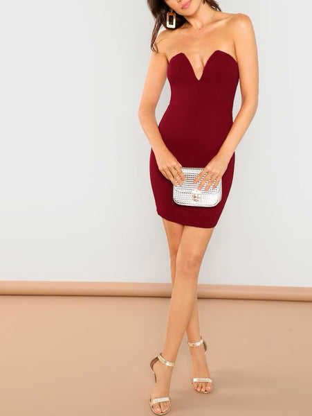Plunging Neckline Fitted Tube Dress