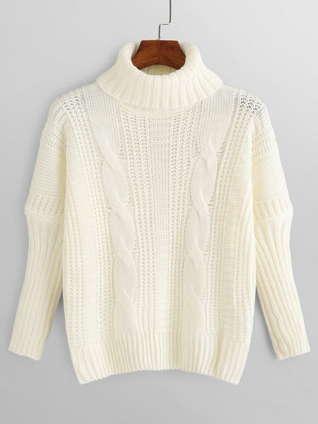 High Neck Raglan Sleeve Sweater