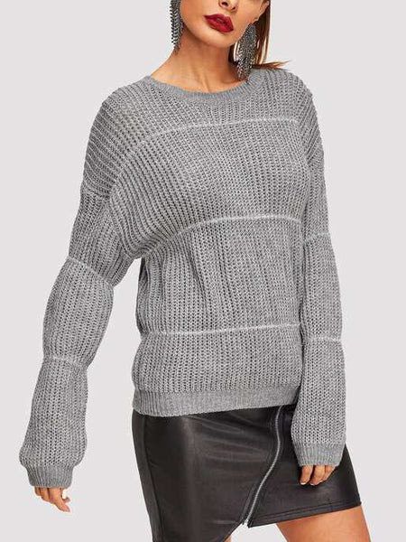 Drop Shoulder Round Neck Jumper