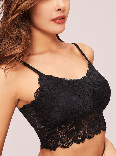 Floral Lace Bralette With Sheer Back