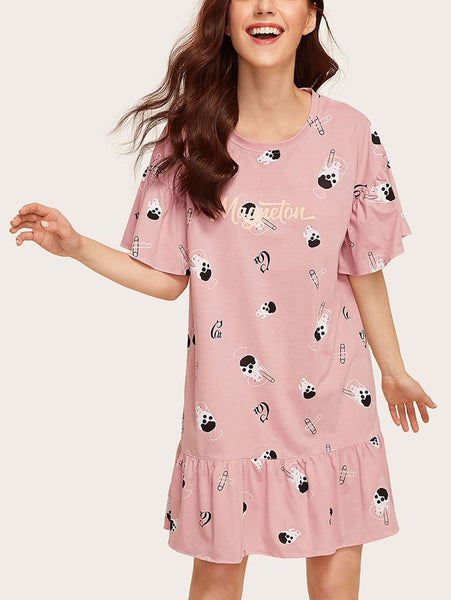 Cat Print Ruffle Hem Dress