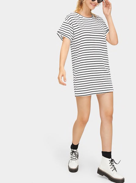 Striped Short Sleeve Tee Dress