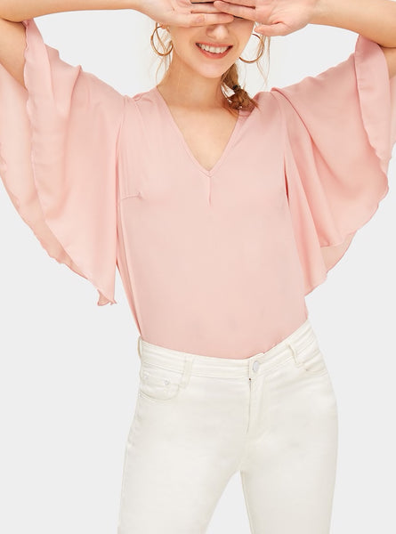 V Neck Flutter Sleeve Top